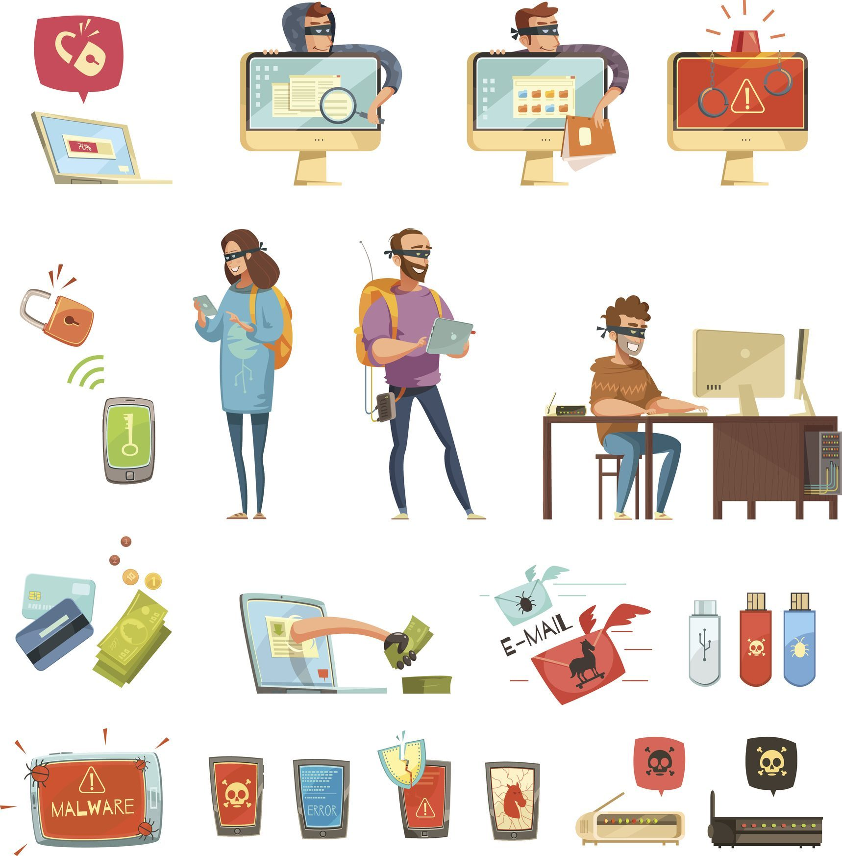 Hackers Activities Retro Cartoon Icons Set