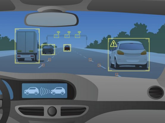 Head up display(HUD) and various information, vehicle interior, vector illustration