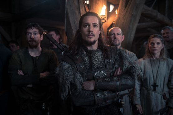 The Last Kingdom / Series Two Photographer: Des Willie © Carnival Film & Television Limited 2017 Gerard Kearns (as Halig), Alexander Dreymon (as Uhtred) , Ian Hart (as Beocca) Eva Birthistle (as Hild)