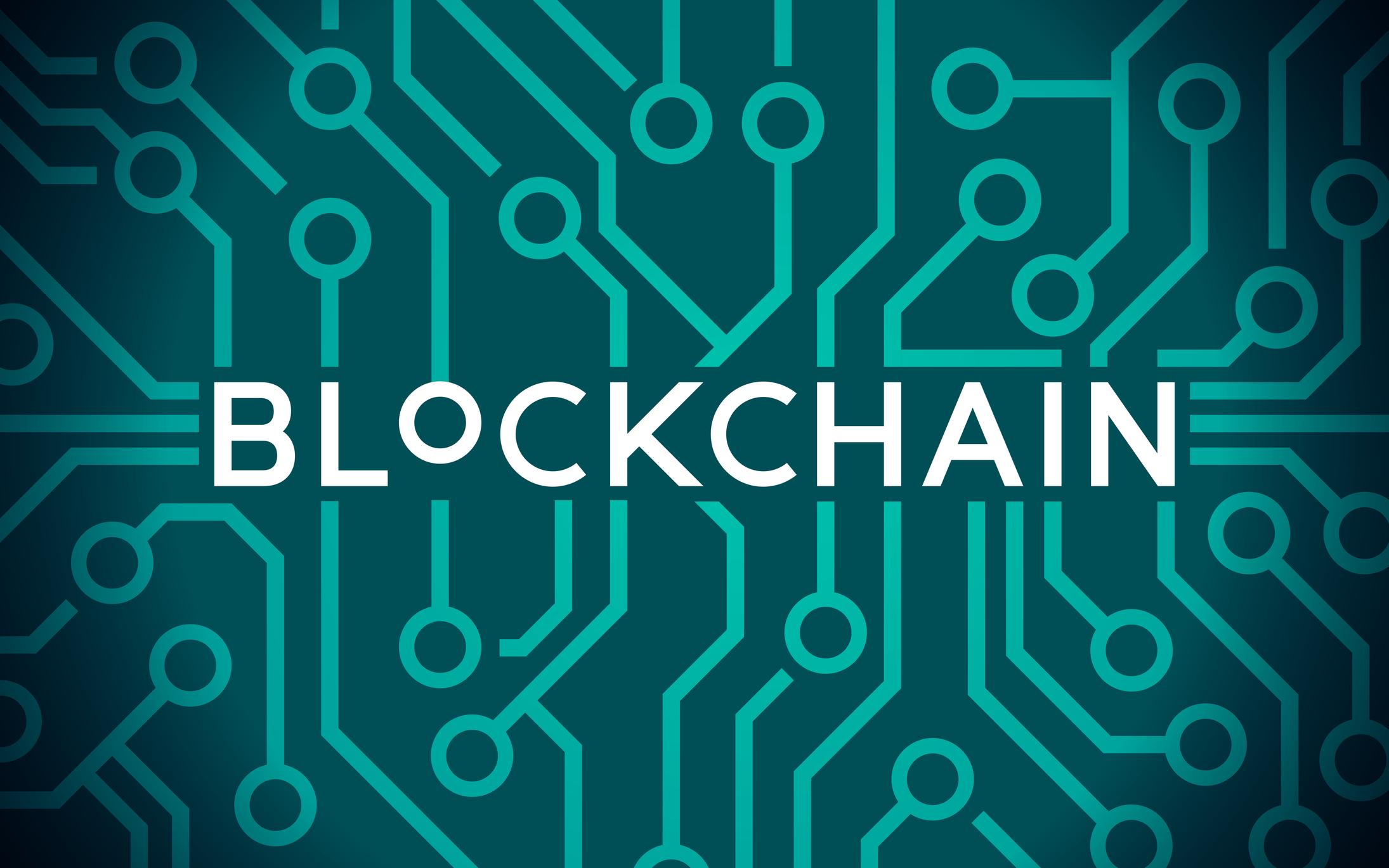 Blockchain computer circuit board concept.